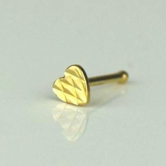 Jewelry 14k Yellow Gold Heart Nose Piercing Stud Poshmark
